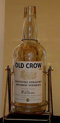 Vintage 1964 Old Crow Whiskey Bottle With Tipping Stand One Gallon Empty Bottle