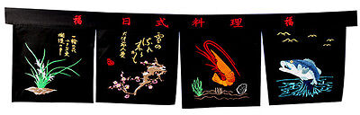 sushi curtain Noren tapestry Japanese restaurant doorway shop sign seafood -1