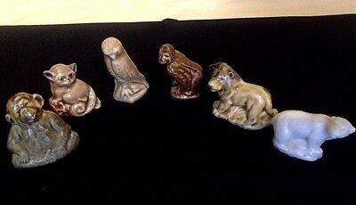 Vintage Wade Miniature Animals. Set of 6 Whimsies. Glazed Solid Porcelain.
