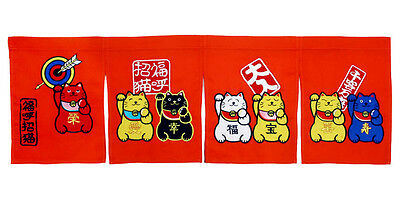Japanese cat sushi curtains Noren shop tapestry restaurant bar doorway sign - 5a