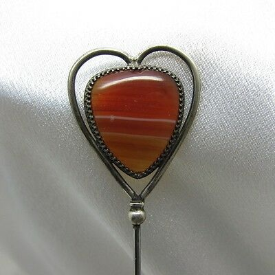Antique Red Agate Stone Heart Shaped Silver Hatpin Hat Pin, NR