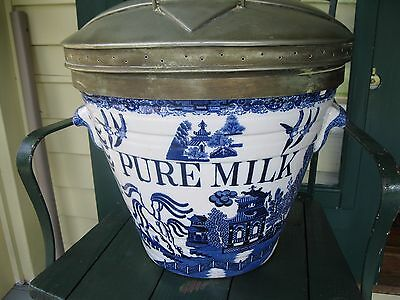 Exceptional and rare blue willow PURE MILK pail Dairy Outfit Co London