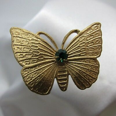 Antique Brass Butterfly with Green Stone Hatpin, Hat Pin, NR
