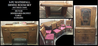 9-Pc Waterfall Dining Room Set 1930'S Art Deco-Hutch, Sideboard, Table, 6 Chairs