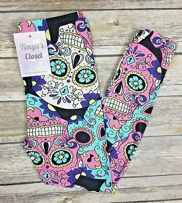 Girls Toddler Leggings Sugar Skull Print S/M 3T - 6  &  L/XL 6 - 10