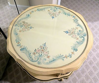 French Provincial Round End Table Mid Century - Hand Painted Flowers & Glass Top