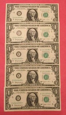 """1963 B Joseph W. Barr  5 Cu."""" Star """" Notes In Sequence 6496-6500"""