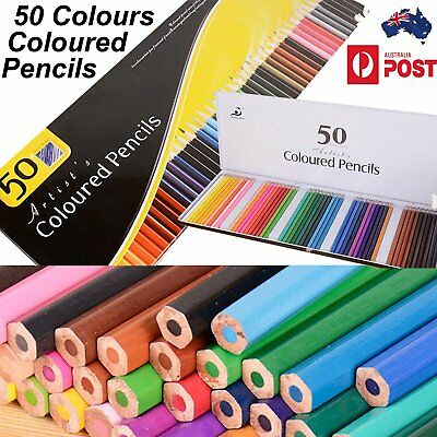 50 Mutli Colour Pencils Set Drawing Professional Non-toxic Coloured Pencils Case