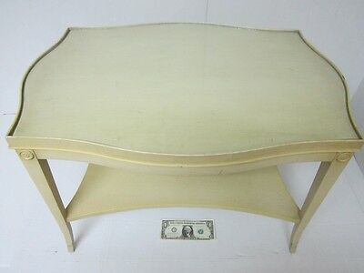 Vtg Two Tier Glass Covered Solid Wood French Coffee/end Table Painted Mahogany