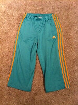 ADIDAS Youth Athletic/Workout Mesh Capri Cropped Pants Sz XL Aqua/Orange