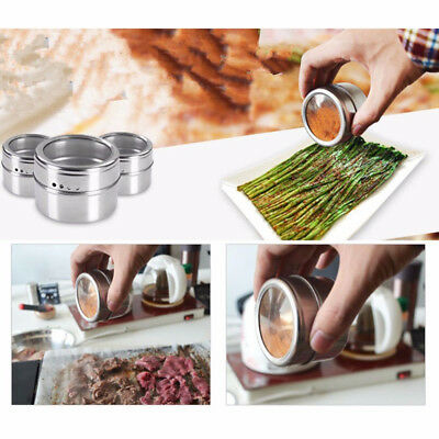 Kitchen BBQ Magnetic Spice Tins Stainless Steel Storage Container Jars Tool New