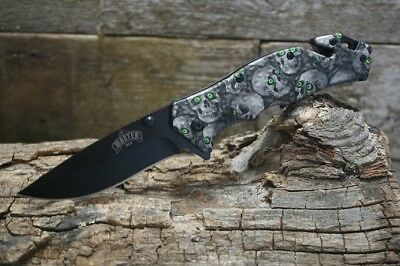 Master USA Spring Assisted Tactical Rescue Skull Knife with Glass Breaker MU-A00