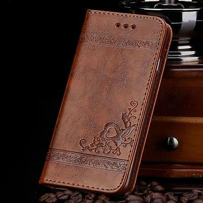 Luxury Leather Flip Wallet Phone Case Cover Stand Floral for Samsung Galaxy S7