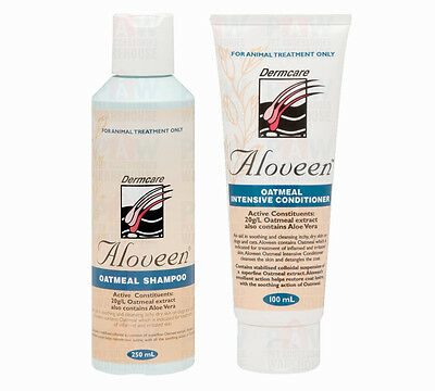 Dermcare Aloveen Oatmeal 250ml Shampoo 100ml Conditioner COMBO PACK for Dog Cat