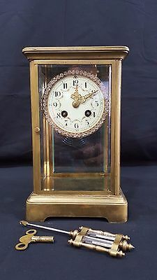 French Japy Freres Mantel Clock -  Four Glass Case With Svarovski Crystal