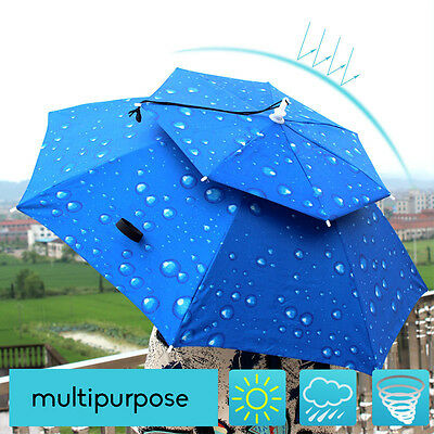 Outdoor Foldable Double Wind Rain Sun Umbrella Hat Fishing Camping Hiking Beach