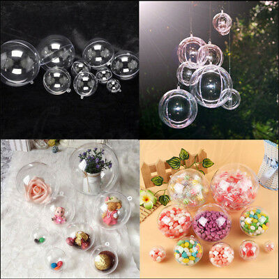 2/10Pc Plastic Round Ball Christmas Clear Bauble Ornament Gift Candy Bag Hanging