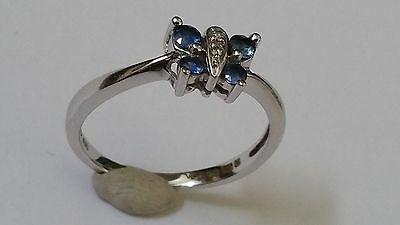 9ct 375 Solid White Gold and Diamond Butterfly Ring size N.