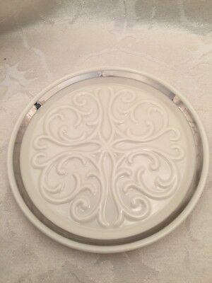 """Lenox Candle Holder Plate Silver Platinum Made In The USA 6 1/2"""""""