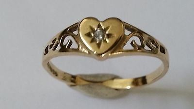 9ct 375 Solid Yellow Gold and Diamond Heart Ring size L