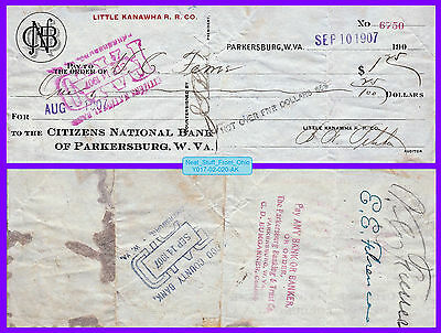 Little Kanawha Railroad 1907 Company Check (Parkersburg, West Virginia)