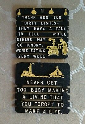 Pair of Vintage Metal Trivet Counter Saver Kitchen Wall Home Decor Funny Sayings