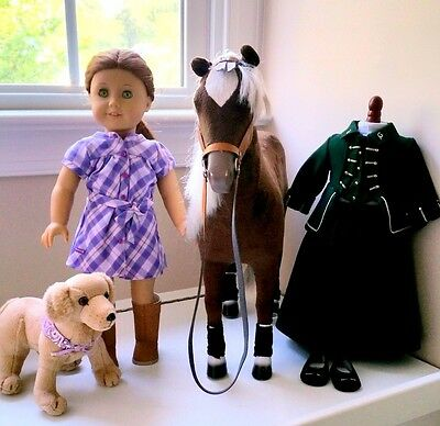 American Girl Doll Felicity with Horse Dog and Green riding outfit