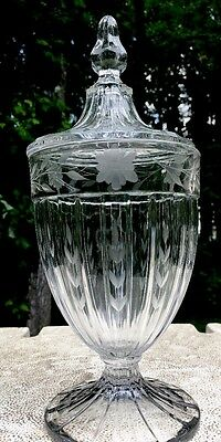 Signed HEISEY Elegant Glass Covered Candy Dish -  Etched/Cut Floral BIG!