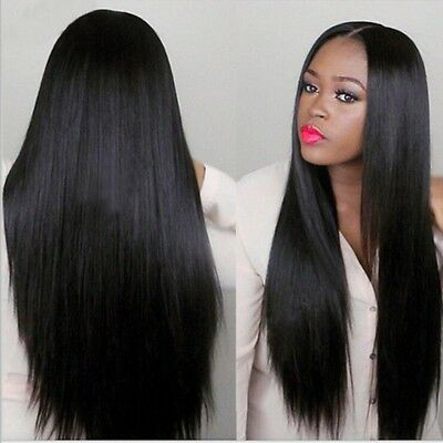75cm Long Straight Natural Black Heat Resistant Synthetic Lace Wig