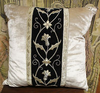 "B. VIZ 19th Century Raised Sliver Metallic Embroidery Pillow 21""X21"""