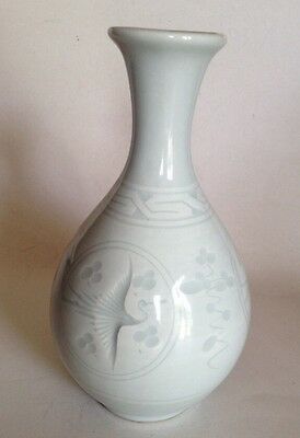 Japanese Porcelain Vase With Etched Cranes As Motif. Vintage White On White
