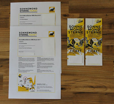 2 x Ticket SMS Festival 11/12/13 Aug 2017 + 2 Boat Ticket Sonne Mond Sterne