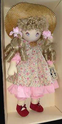 """Vintage 18"""" All Cloth Doll Rebecca, By Dolls By Pauline"""