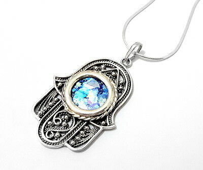 Yemenite 925 Silver  Roman Glass Filigree Hamsa Pendant  Necklace