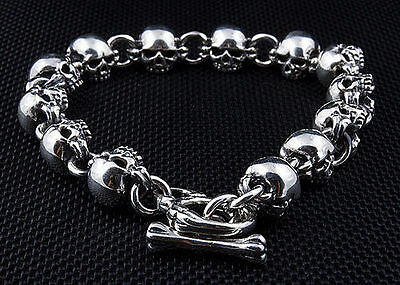 Small Fat Skull 925 925 Sterling Silver Chain Bracelet New Gothic Biker Rock