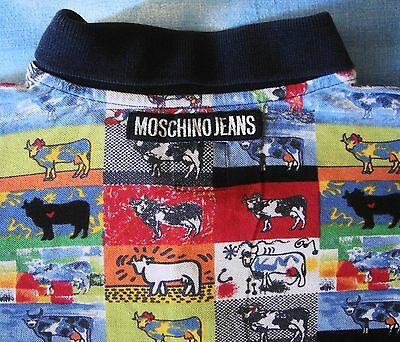 POLO T-SHIRT man  vintage 80's  MOSCHINO Jeans TG.M made in Italy  Rare