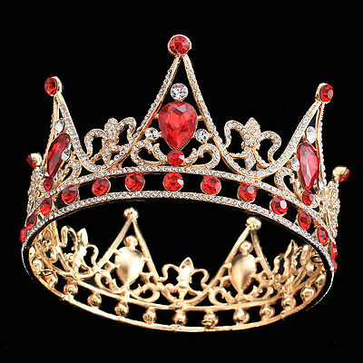 Baroque Bridal Red Crystal Diadem Crown Prom Queen Princess Ruby Tiaras Headband