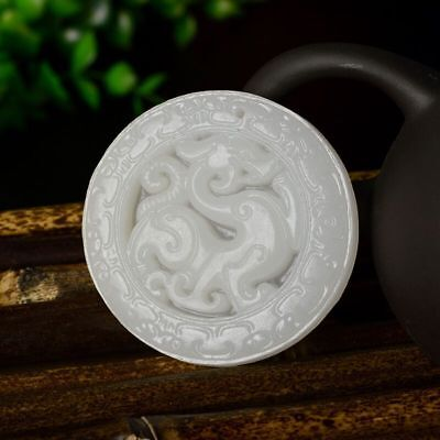 Fine Chinese natural white Jade Statue Pendant Amulet Necklace Antique Dragon