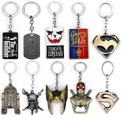 10 Style Film Replica Superhero Key chain Gift New Collectable Metal Key rings