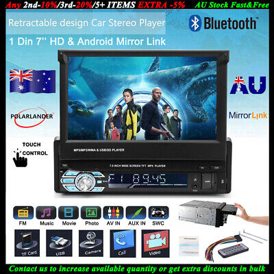 """1 Din Single 7"""" HD Flip out Touch Screen Car Radio Stereo Bluetooth MP5 Player"""