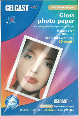"6x4"" Premium Gloss Photo Paper, 30 sheets 205gsm 4x6"" AVERY CELCAST lj90 Ultra"