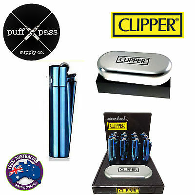 Genuine Icy Blue Clipper Lighter Refillable Metal Lighter - Metal Gift Case