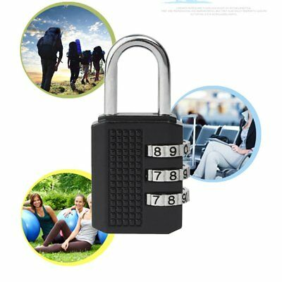 3 Digit Combination Padlock Black Number Luggage Travel Code Lock HL