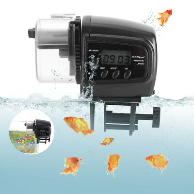 Plastic Digital LCD Fish Feeder Timer Auto Aquarium Tank Food Feeding Machine SR