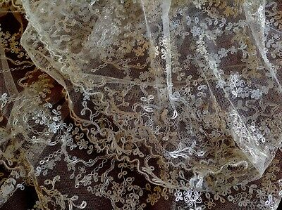 Antique Unused Silver Thread Wedding Tulle Lace Fabric 4.5m X 128cms