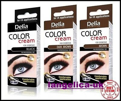 DELIA Henna Cream Eyebrow Tint Kit Set Black Brown Dark Brown Professional Color