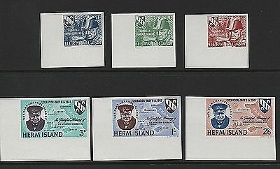 1965 Herm Island Stamps 'Liberation - Churchill' imperf set - U/M