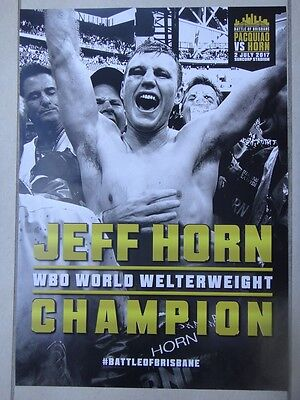 Jeff Horn Victory Poster V Pacquiao. Wbo Champion