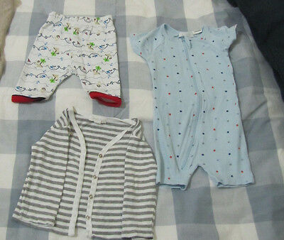 Purebaby Size 000 Romper and Cardigan & sprout size 0000 Pants