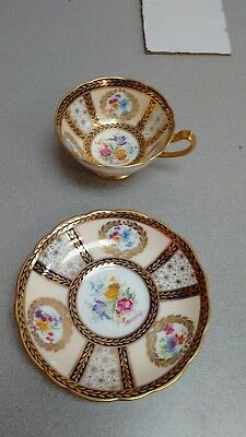 Paragon Cup & Saucer Reproduction of Service for Queen Mary Signed H. Holdcroft